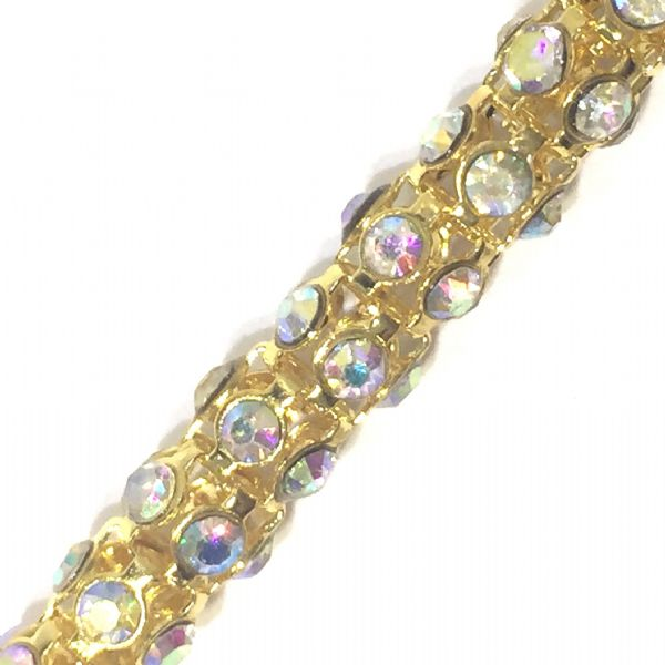 7mm Clear AB rhinestone gold colour reticulated chain -- 1meter